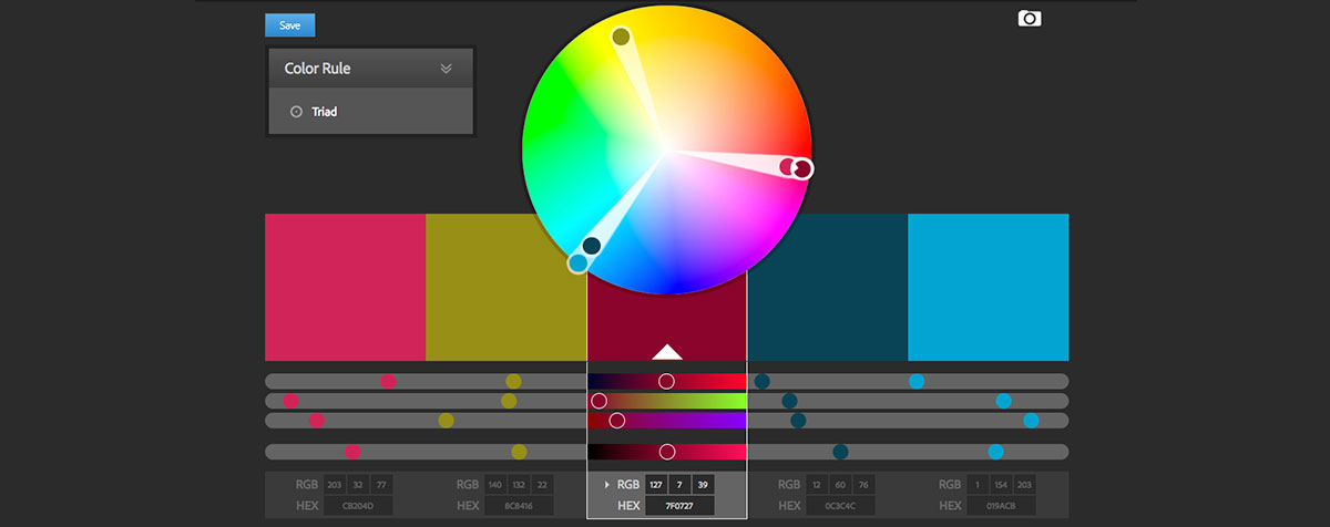 Adobe Color CC tools for web designers