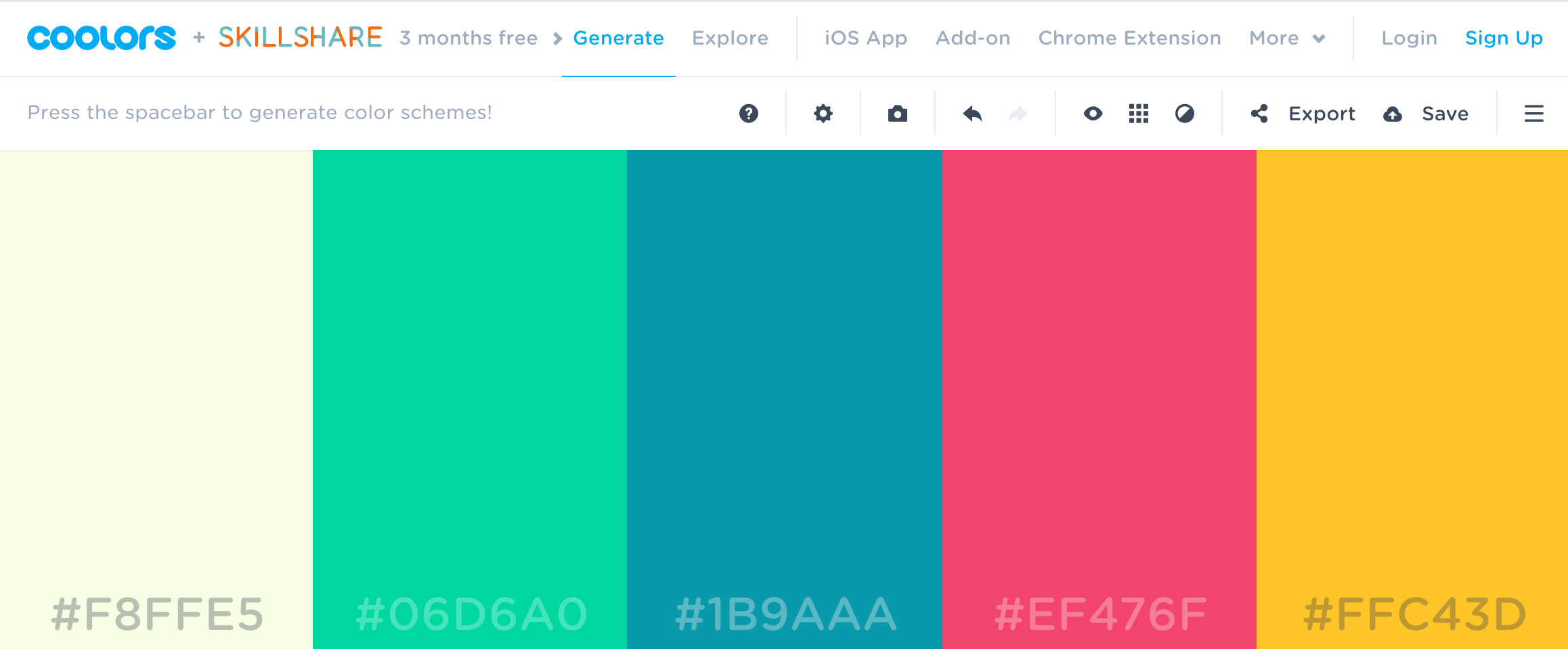 Coolors tools for web designers