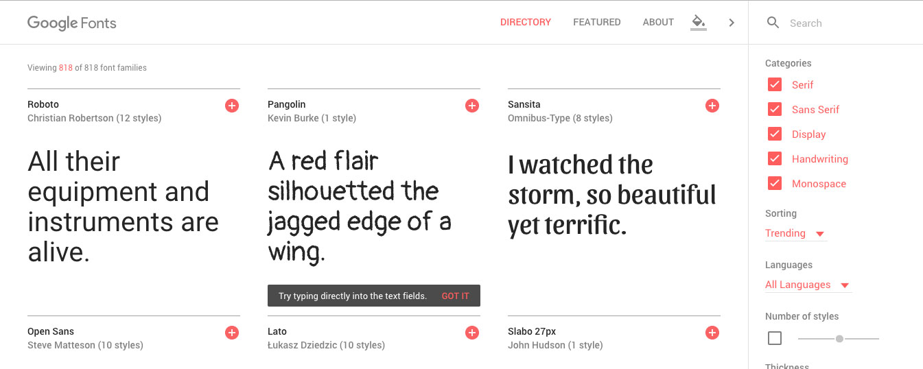 Google Fonts tools for web designers