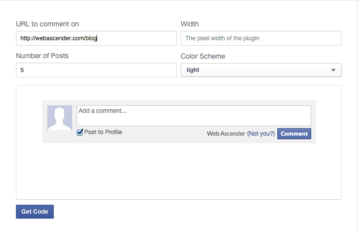 Facebook Comments box code generator