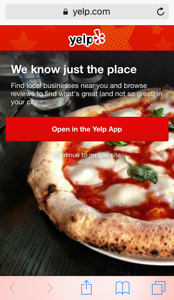 Interstitial ad or pop up replacement yelp example