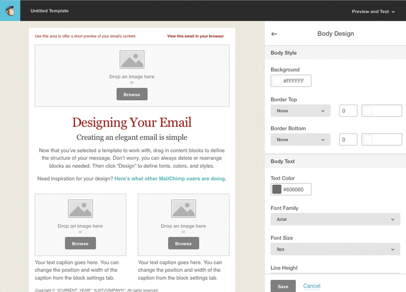 tutorial for creating a custom email template in mailchimp web ascender. Black Bedroom Furniture Sets. Home Design Ideas
