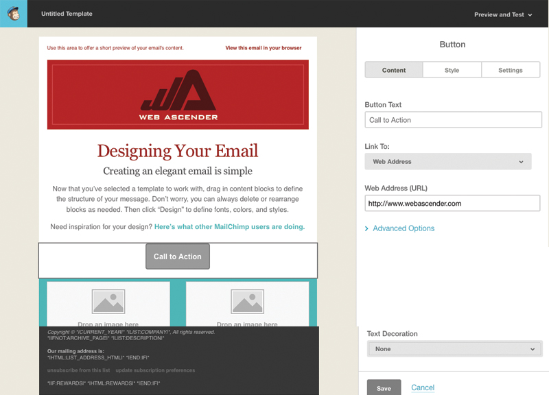 how to change address in mailchimp