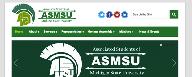 The new ASMSU site has a flat UI