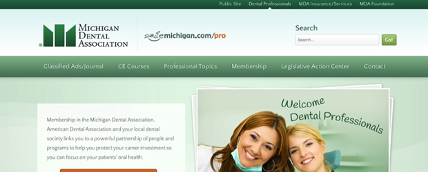 The Michigan Dental Association website after a design update