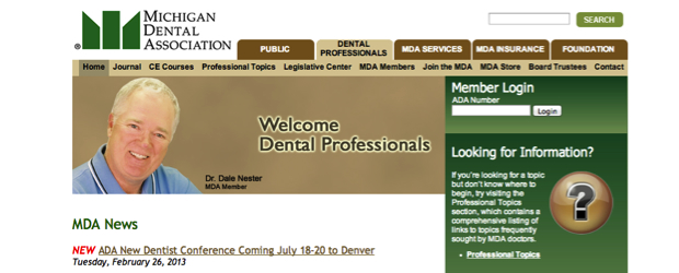 The Michigan Dental Association website before a design update