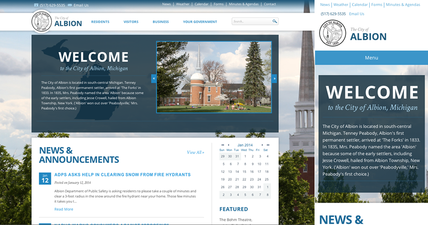 City of Albion - Responsive Website