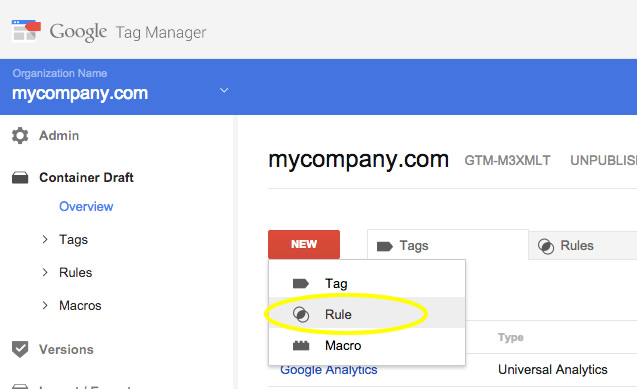 Create Tag Manager Rule