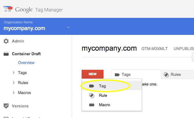 Create Tag Manager Tag