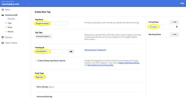 Installing Google Analytics with Tag Manager