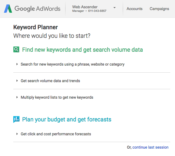 How To Use The Google Adwords Keyword Planner Web Ascender