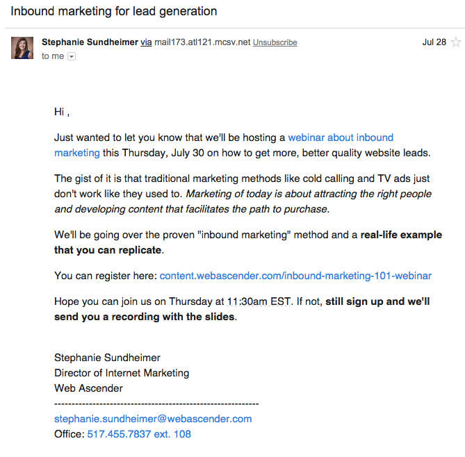 How To Use Email Marketing To Promote Your Next Webinar Web Ascender - Birthday party invitation reminder