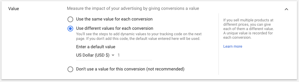 adwords ROI lead value