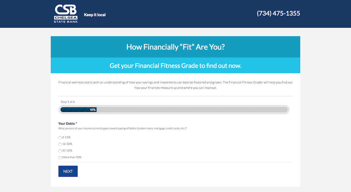 Chelsea State Bank Financial Fitness Grader Interactive Website Feature