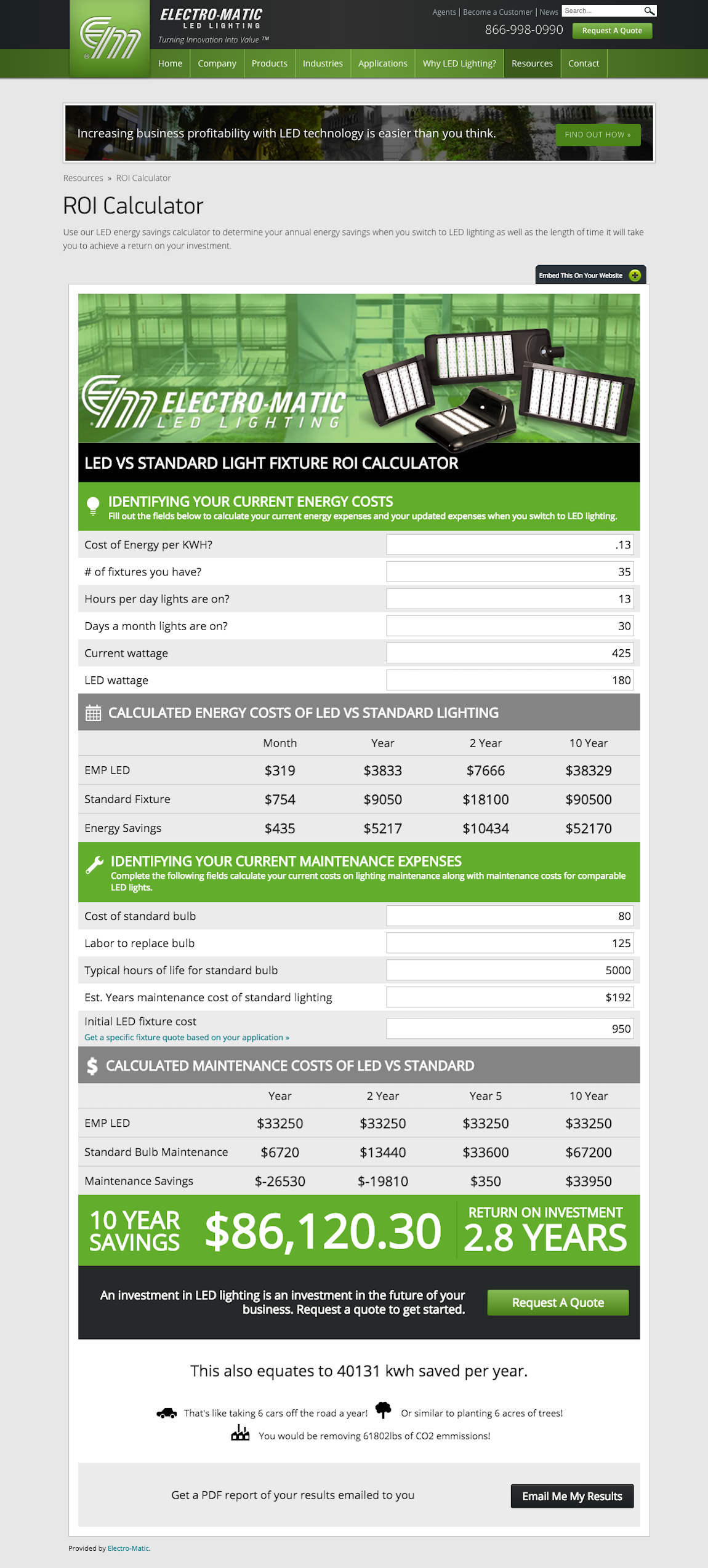 EM LED Lighting Roi Calculator Interactive Website Features