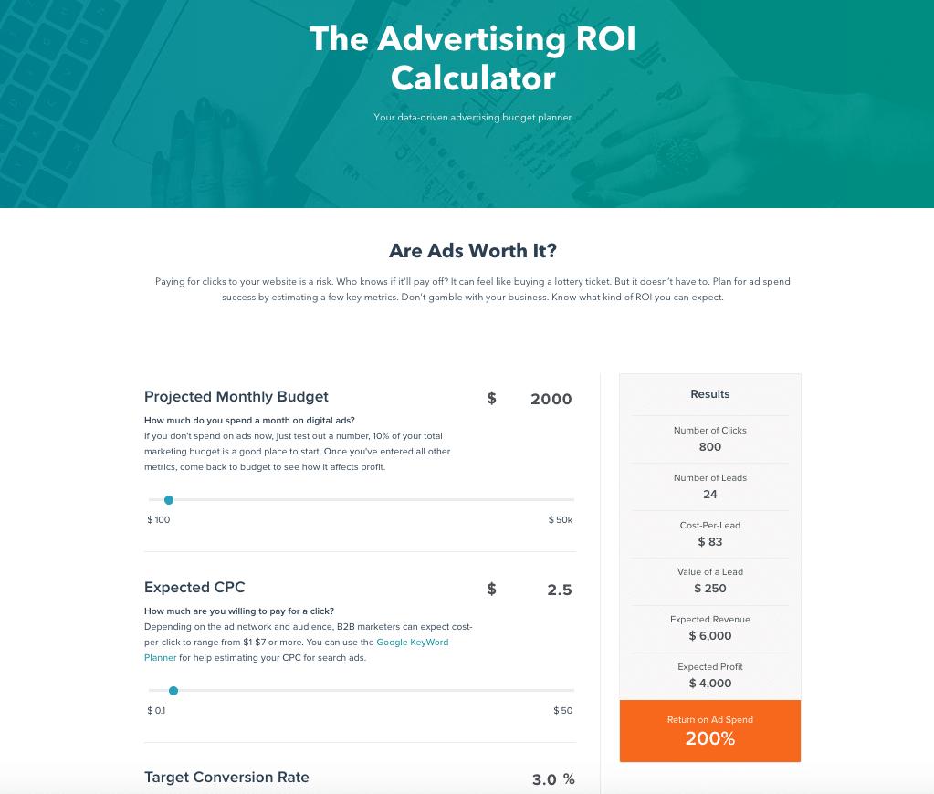 Hubspot Advertising Roi Calculator Interactive Website Feature