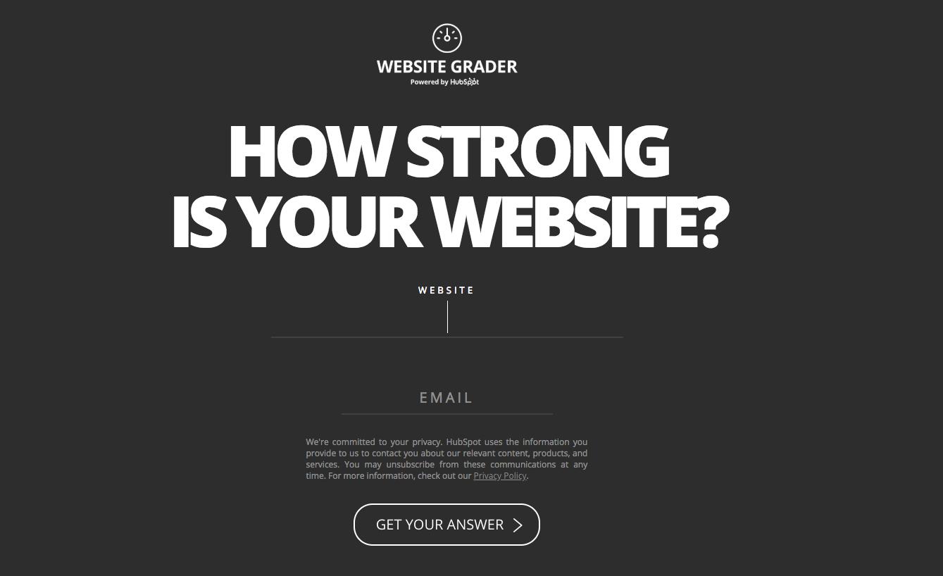 Hubspot Website Grader Interactive Website Feature