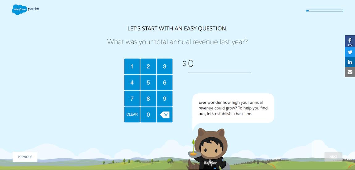 Pardot ROI Calculator Interactive Web Feature