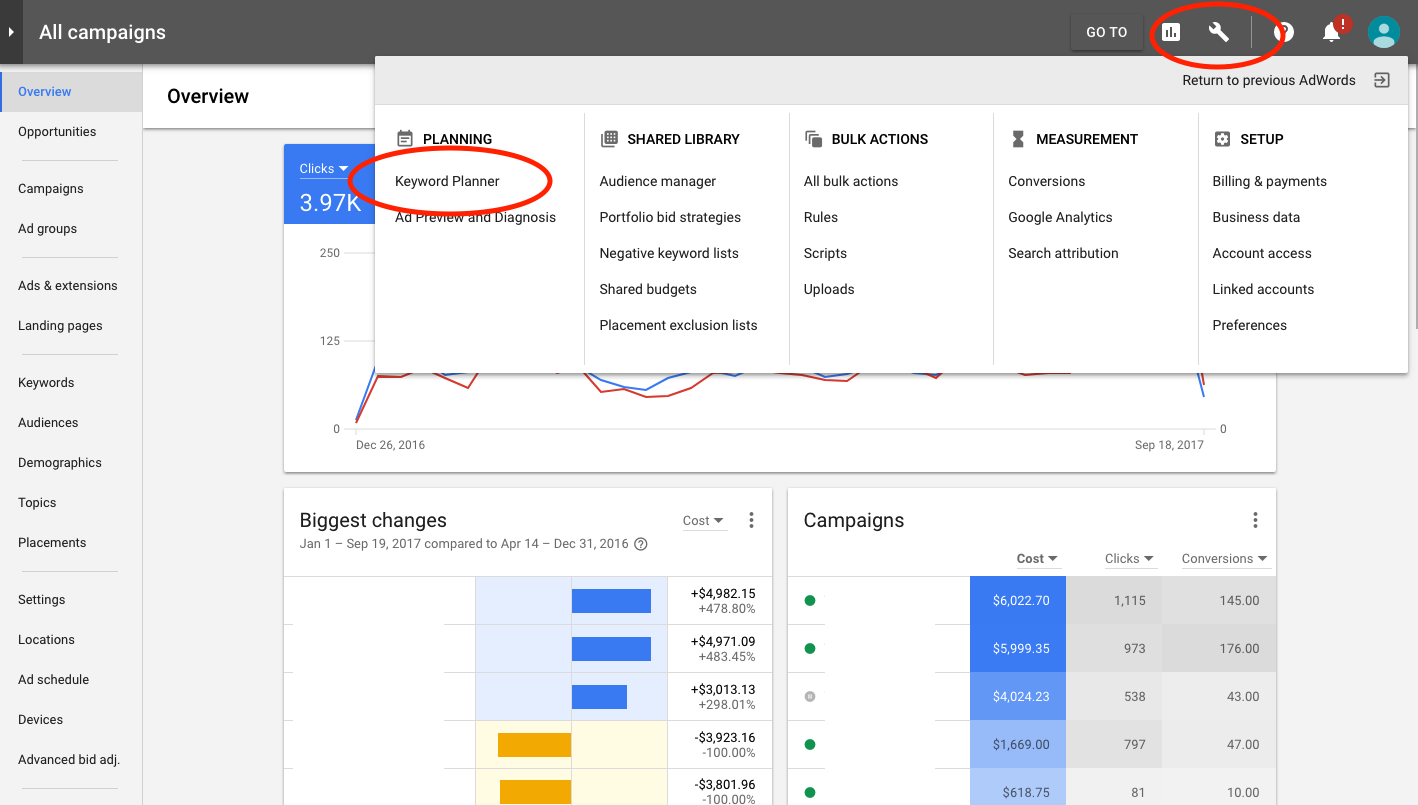 how to use google adwords keyword planner