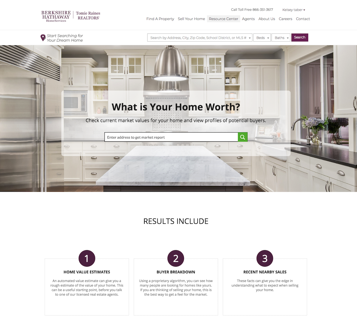Berkshire Hathaway Homeservices Tomie Raines Realtors Home Value Estimator Interactive Website Feature