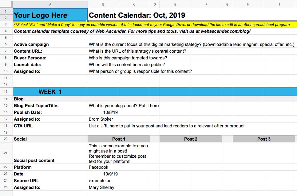 content calendar google sheets example