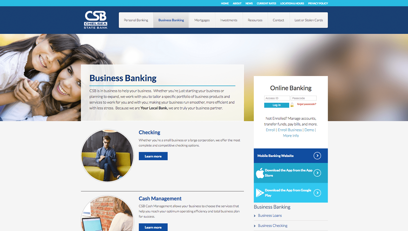Chelsea State Bank screenshot