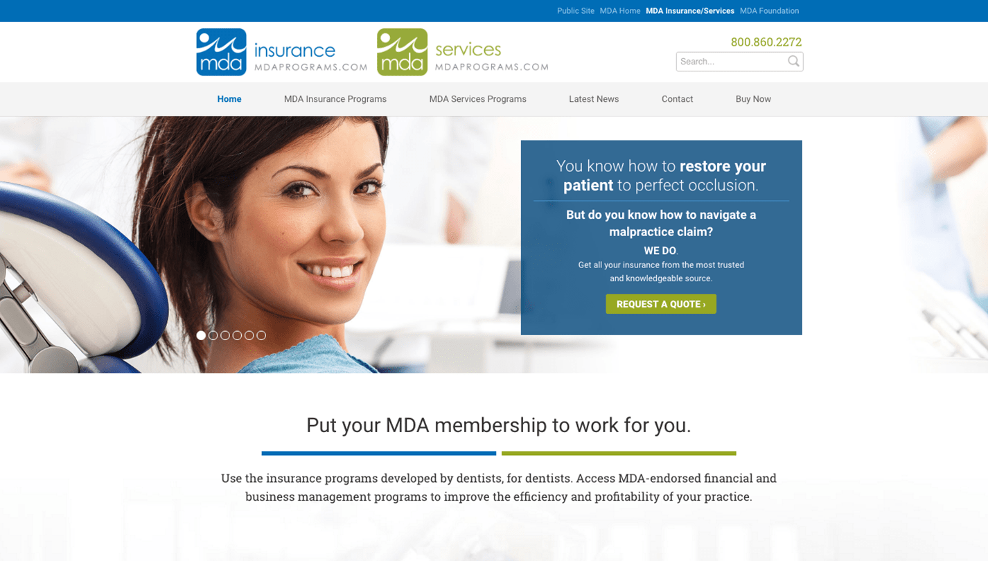 Michigan Dental Association screenshot